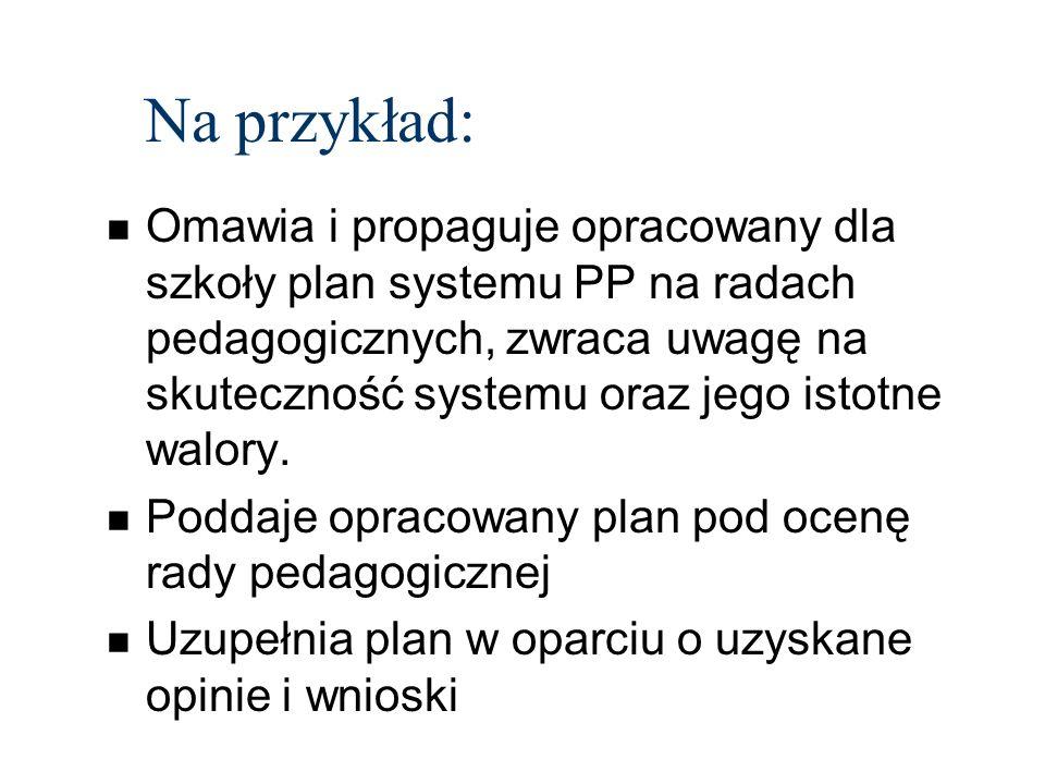 Na przykład: n Omawia i propaguje opracowany dla szkoły plan systemu PP na radach pedagogicznych, zwraca uwagę na skuteczność systemu oraz jego istotne walory.