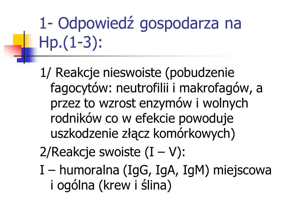1- Odpowiedź gospodarza na Hp.(1-3): 1/ Reakcje nieswoiste (pobudzenie fagocytów: neutrofilii i makrofagów, a przez to wzrost enzymów i wolnych rodnik