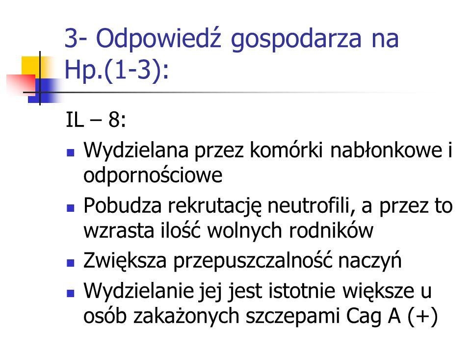 3- Odpowiedź gospodarza na Hp.(1-3): IL – 8: Wydzielana przez komórki nabłonkowe i odpornościowe Pobudza rekrutację neutrofili, a przez to wzrasta ilo