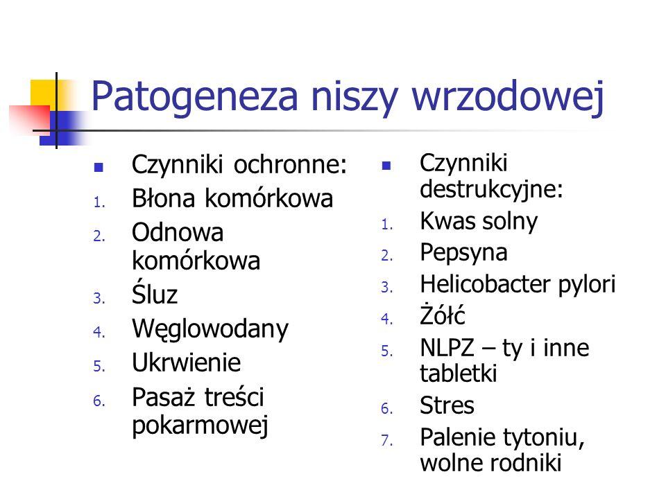 Patogeneza niszy wrzodowej Czynniki ochronne: 1. Błona komórkowa 2. Odnowa komórkowa 3. Śluz 4. Węglowodany 5. Ukrwienie 6. Pasaż treści pokarmowej Cz