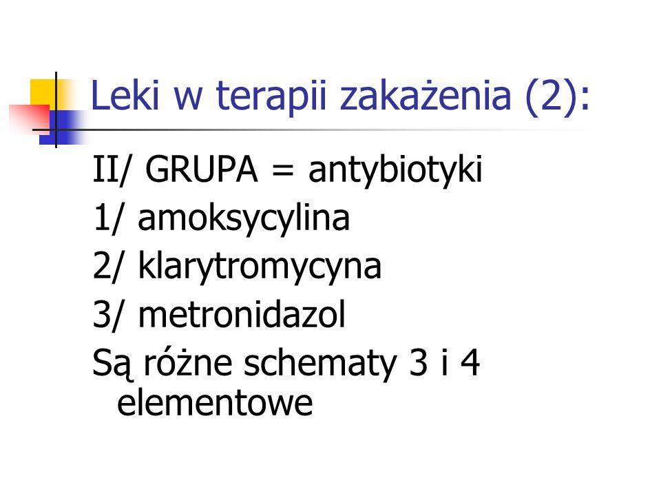 Leki w terapii zakażenia (2): II/ GRUPA = antybiotyki 1/ amoksycylina 2/ klarytromycyna 3/ metronidazol Są różne schematy 3 i 4 elementowe