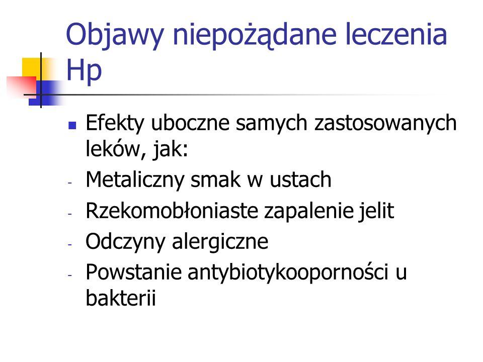 Objawy niepożądane leczenia Hp Efekty uboczne samych zastosowanych leków, jak: - Metaliczny smak w ustach - Rzekomobłoniaste zapalenie jelit - Odczyny