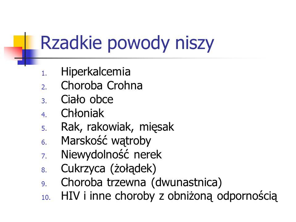 Rzadkie powody niszy 1. Hiperkalcemia 2. Choroba Crohna 3. Ciało obce 4. Chłoniak 5. Rak, rakowiak, mięsak 6. Marskość wątroby 7. Niewydolność nerek 8