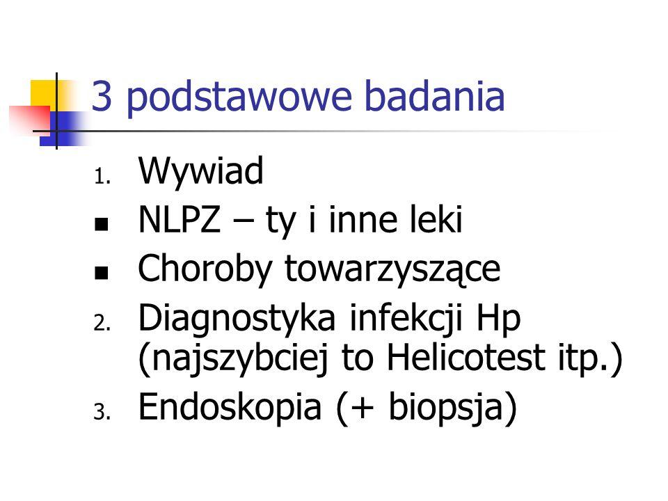3 podstawowe badania 1. Wywiad NLPZ – ty i inne leki Choroby towarzyszące 2. Diagnostyka infekcji Hp (najszybciej to Helicotest itp.) 3. Endoskopia (+