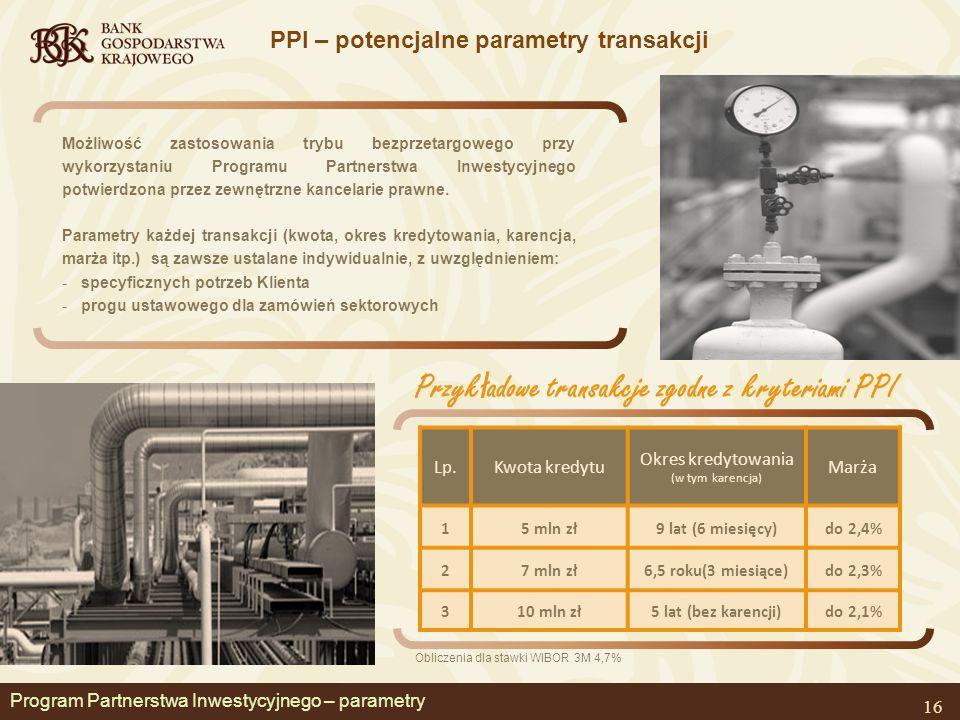 Program Partnerstwa Inwestycyjnego – parametry PPI – potencjalne parametry transakcji 16 Lp.Kwota kredytu Okres kredytowania (w tym karencja) Marża 15 mln zł9 lat (6 miesięcy)do 2,4% 27 mln zł6,5 roku(3 miesiące)do 2,3% 310 mln zł5 lat (bez karencji)do 2,1% Przyk ł adowe transakcje zgodne z kryteriami PPI Obliczenia dla stawki WIBOR 3M 4,7% Możliwość zastosowania trybu bezprzetargowego przy wykorzystaniu Programu Partnerstwa Inwestycyjnego potwierdzona przez zewnętrzne kancelarie prawne.