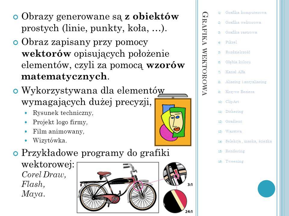 GIMP (open source) G RAFIKA RASTROWA 1) Grafika komputerowa 2) Grafika wektorowa 3) Grafika rastrowa 4) Piksel 5) Rozdzielczość 6) Głębia koloru 7) Kanał Alfa 8) Aliasing i antyaliasing 9) Krzywe Beziera 10) ClipArt 11) Dithering 12) Gradient 13) Warstwa 14) Selekcja, maska, ścieżka 15) Rendering 16) Tweening Obraz to mozaika maleńkich punktów, zwanych pikselami.