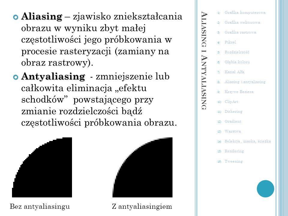 A LIASING I A NTYALIASING 1) Grafika komputerowa 2) Grafika wektorowa 3) Grafika rastrowa 4) Piksel 5) Rozdzielczość 6) Głębia koloru 7) Kanał Alfa 8) Aliasing i antyaliasing 9) Krzywe Beziera 10) ClipArt 11) Dithering 12) Gradient 13) Warstwa 14) Selekcja, maska, ścieżka 15) Rendering 16) Tweening węzłam punktów kontrolnych Krzywe zdefiniowane przez położenie czterech punktów, dwóch końcowych zwanych węzłam i oraz dwóch tzw.
