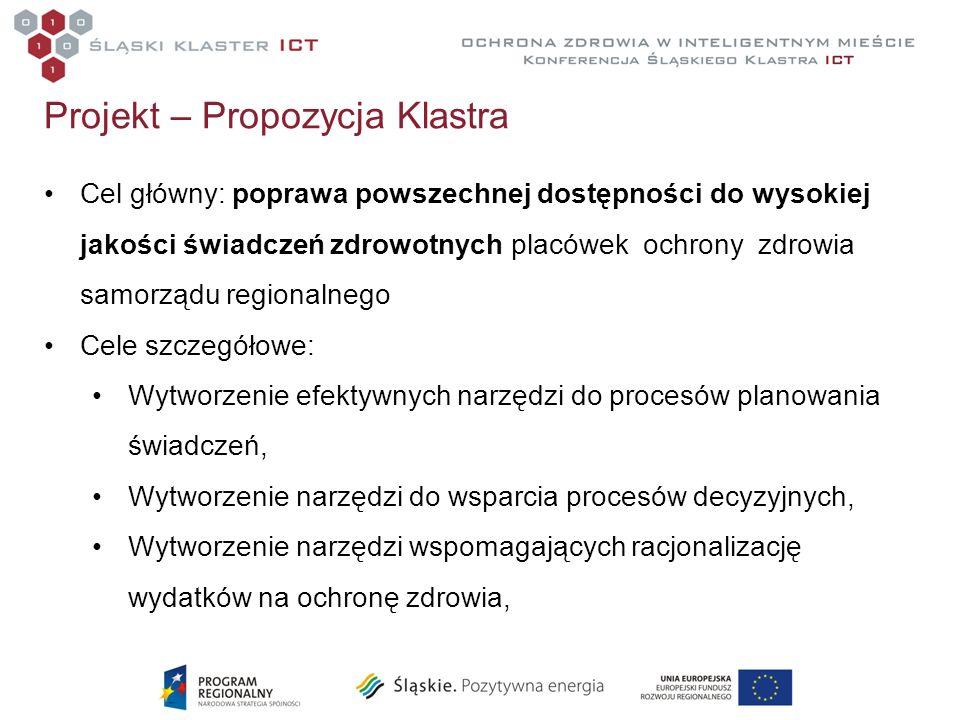 Projekt – Propozycja Klastra Cel główny: poprawa powszechnej dostępności do wysokiej jakości świadczeń zdrowotnych placówek ochrony zdrowia samorządu