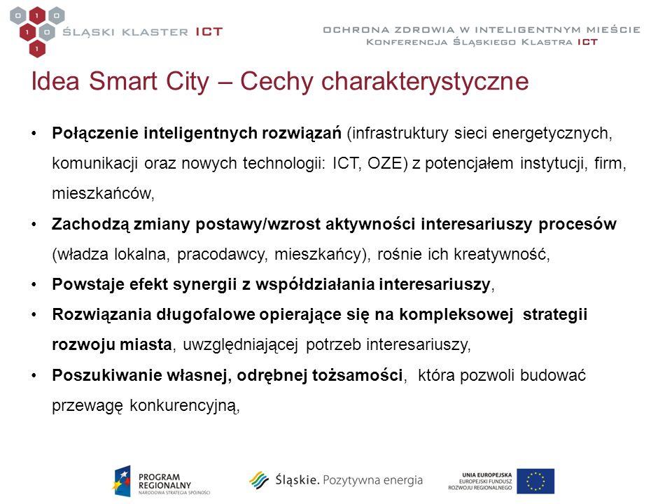 Idea Smart City – Cechy charakterystyczne Połączenie inteligentnych rozwiązań (infrastruktury sieci energetycznych, komunikacji oraz nowych technologi