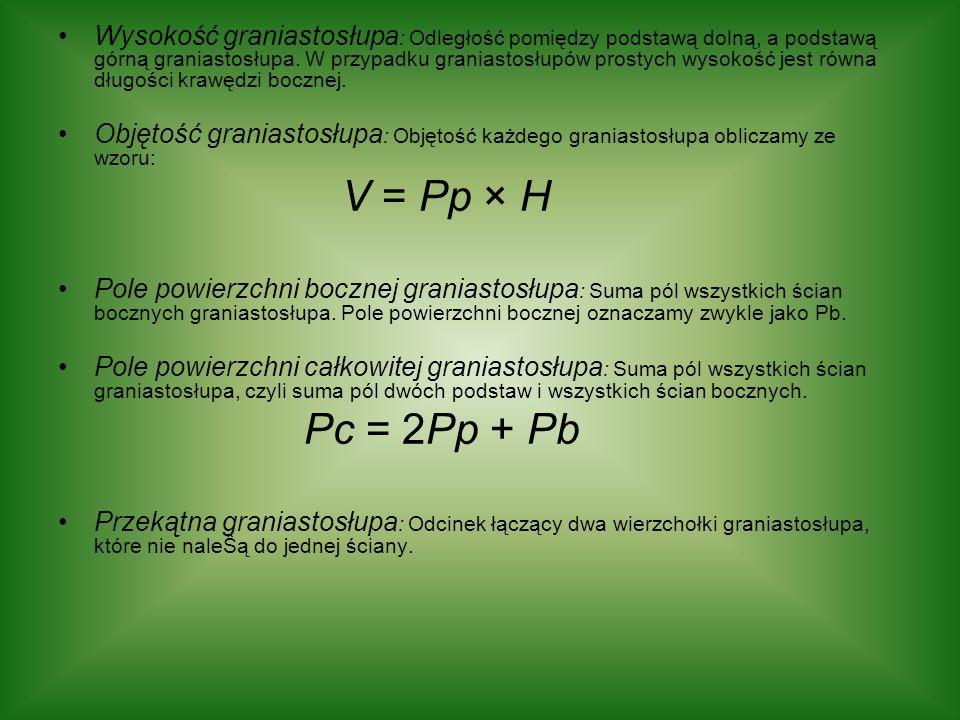 Własności graniastosłupa Jeśli graniastosłup ma podstawę, którą jest n – kąt (wielokąt o n bokach), to: - ilość ścian graniastosłupa wynosi n + 2, - ilość krawędzi graniastosłupa wynosi 3n, - ilość wierzchołków graniastosłupa wynosi 2n.
