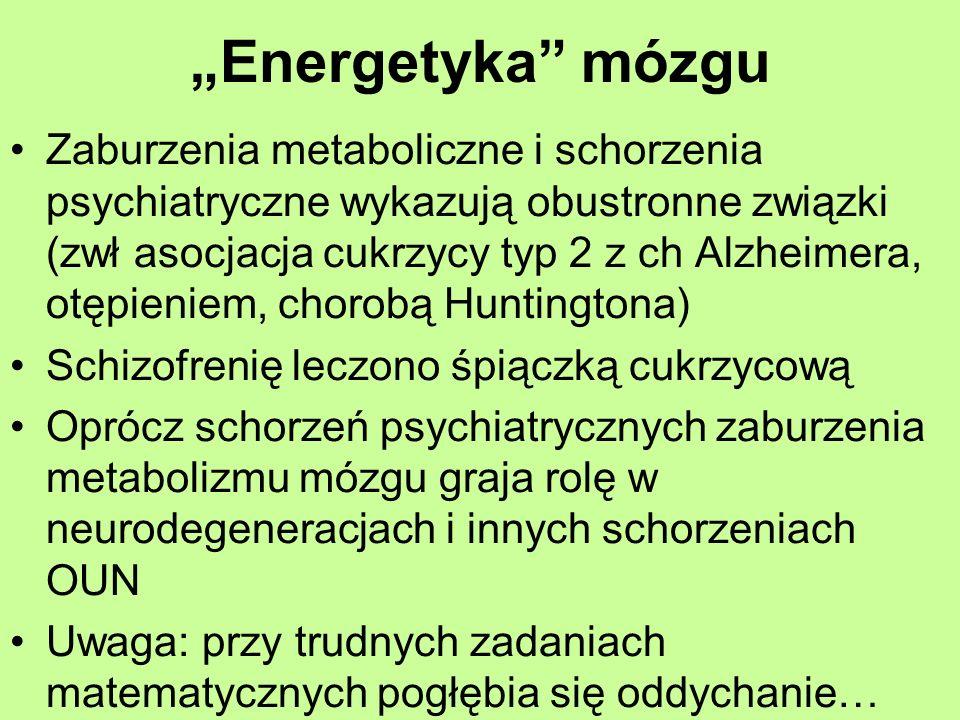 Energetyka mózgu Zaburzenia metaboliczne i schorzenia psychiatryczne wykazują obustronne związki (zwł asocjacja cukrzycy typ 2 z ch Alzheimera, otępie