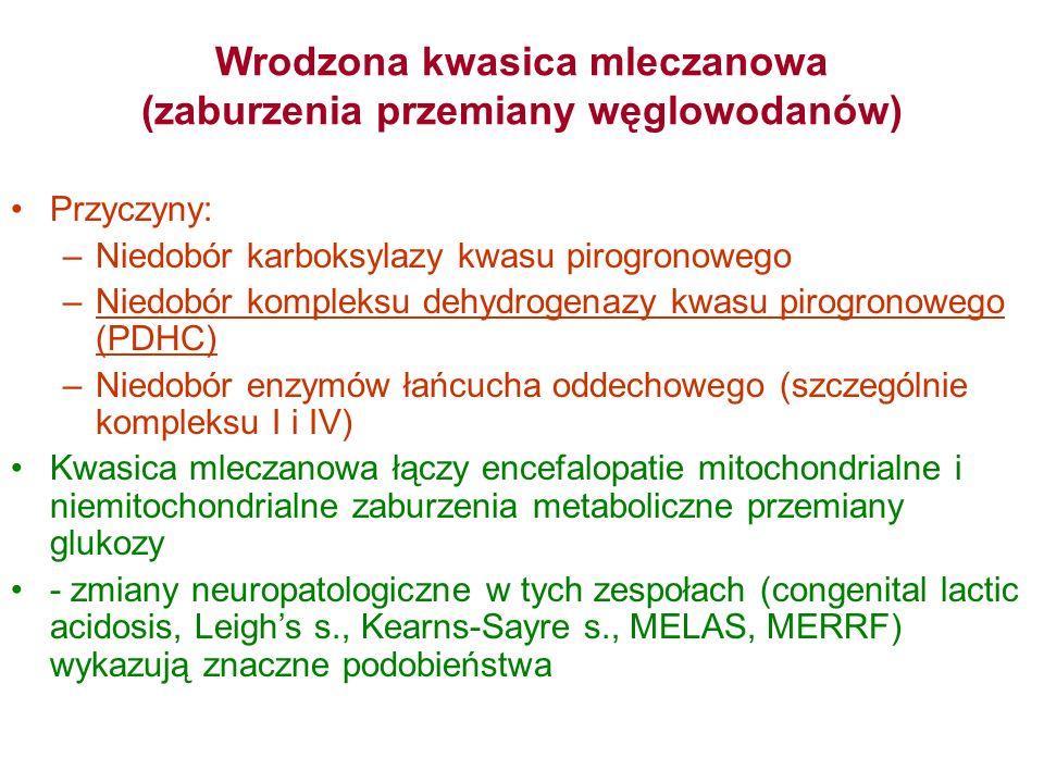Wrodzona kwasica mleczanowa (zaburzenia przemiany węglowodanów) Przyczyny: –Niedobór karboksylazy kwasu pirogronowego –Niedobór kompleksu dehydrogenaz