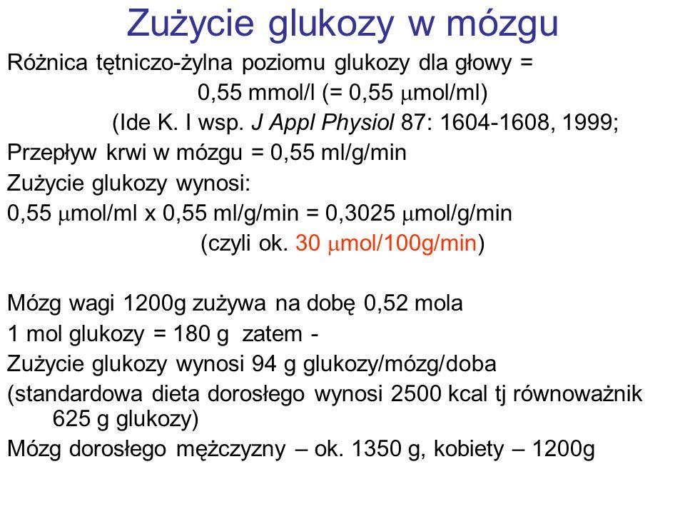 Zużycie glukozy w mózgu Różnica tętniczo-żylna poziomu glukozy dla głowy = 0,55 mmol/l (= 0,55 mol/ml) (Ide K. I wsp. J Appl Physiol 87: 1604-1608, 19