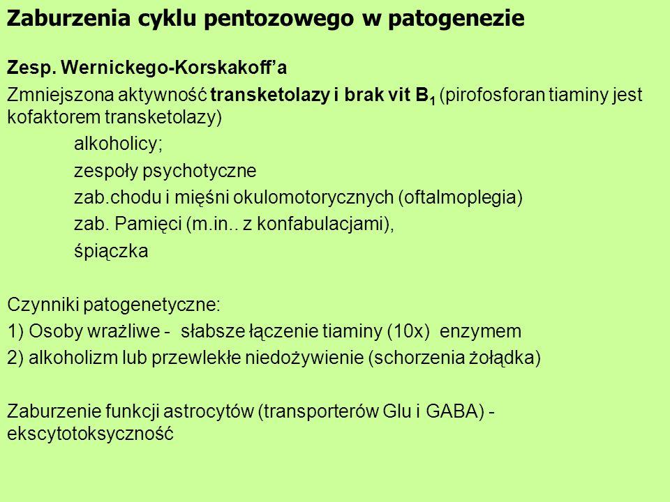 Zaburzenia cyklu pentozowego w patogenezie Zesp. Wernickego-Korskakoffa Zmniejszona aktywność transketolazy i brak vit B 1 (pirofosforan tiaminy jest