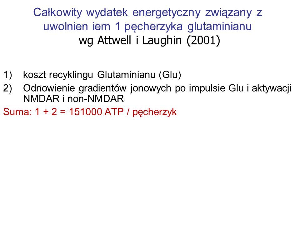Całkowity wydatek energetyczny związany z uwolnien iem 1 pęcherzyka glutaminianu wg Attwell i Laughin (2001) 1)koszt recyklingu Glutaminianu (Glu) 2)
