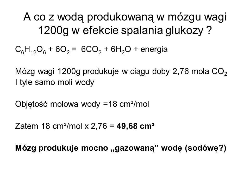 A co z wodą produkowaną w mózgu wagi 1200g w efekcie spalania glukozy ? C 6 H 12 O 6 + 6O 2 = 6CO 2 + 6H 2 O + energia Mózg wagi 1200g produkuje w cią
