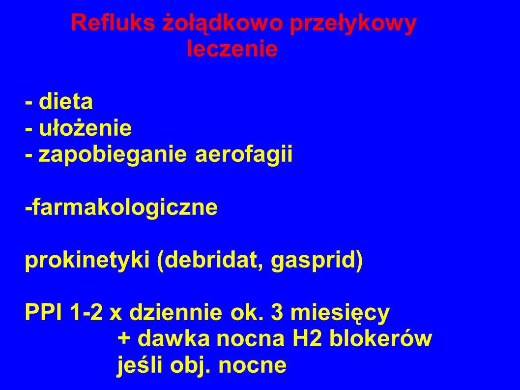 Refluks żołądkowo przełykowy leczenie - dieta - ułożenie - zapobieganie aerofagii -farmakologiczne prokinetyki (debridat, gasprid) PPI 1-2 x dziennie ok.
