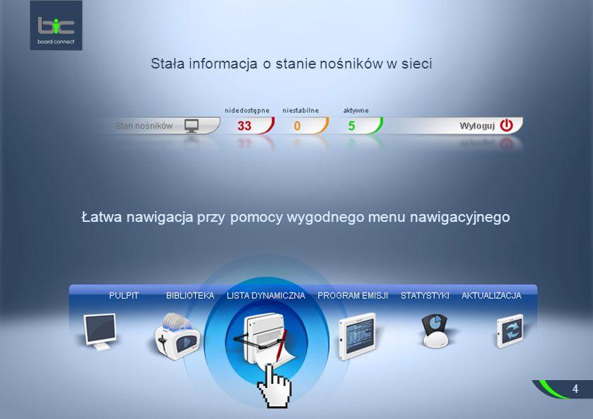 Stała informacja o stanie nośników w sieci Łatwa nawigacja przy pomocy wygodnego menu nawigacyjnego 4