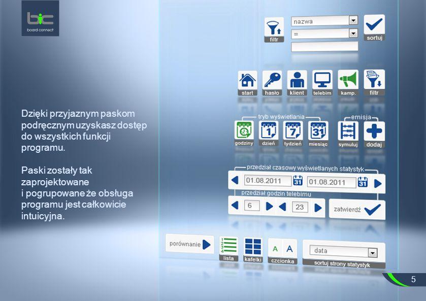 Dzięki przyjaznym paskom podręcznym uzyskasz dostęp do wszystkich funkcji programu.