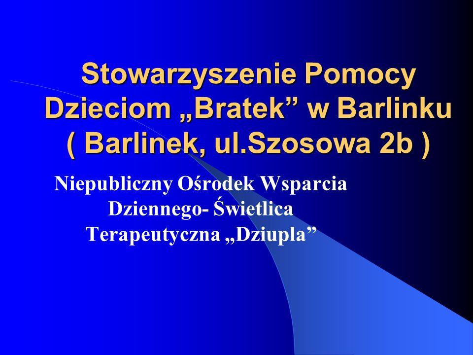 Stowarzyszenie Pomocy Dzieciom Bratek w Barlinku ( Barlinek, ul.Szosowa 2b ) Niepubliczny Ośrodek Wsparcia Dziennego- Świetlica Terapeutyczna Dziupla