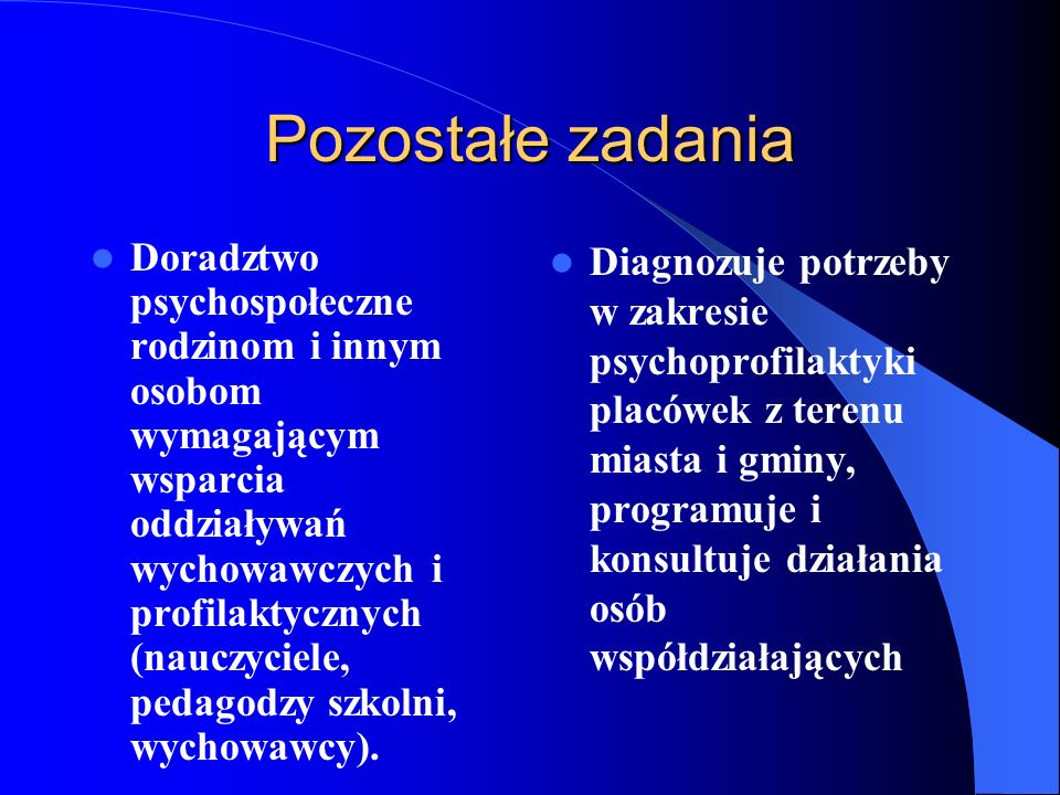 Pozostałe zadania Doradztwo psychospołeczne rodzinom i innym osobom wymagającym wsparcia oddziaływań wychowawczych i profilaktycznych (nauczyciele, pe