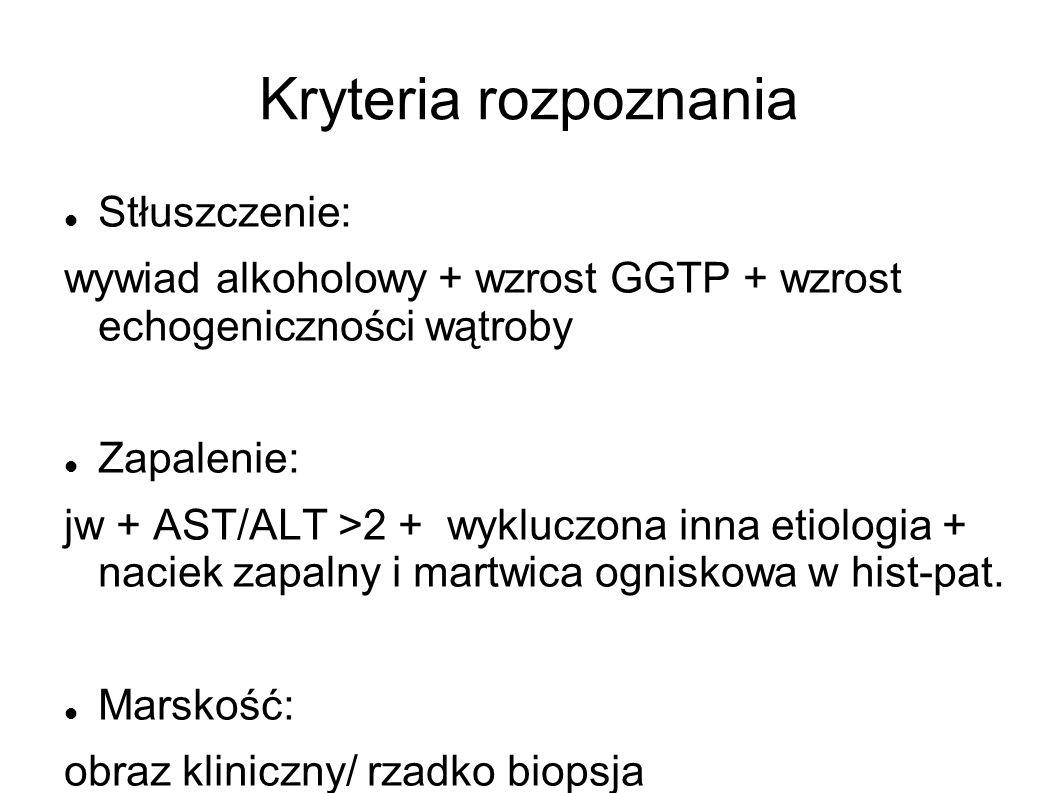 Kryteria rozpoznania Stłuszczenie: wywiad alkoholowy + wzrost GGTP + wzrost echogeniczności wątroby Zapalenie: jw + AST/ALT >2 + wykluczona inna etiol