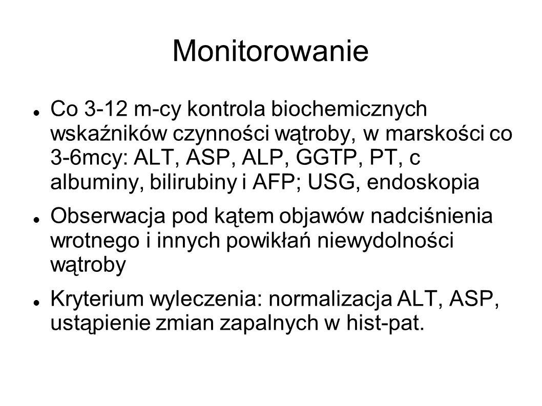 Monitorowanie Co 3-12 m-cy kontrola biochemicznych wskaźników czynności wątroby, w marskości co 3-6mcy: ALT, ASP, ALP, GGTP, PT, c albuminy, bilirubin