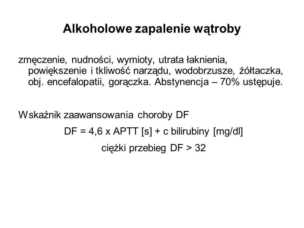 Alkoholowe zapalenie wątroby zmęczenie, nudności, wymioty, utrata łaknienia, powiększenie i tkliwość narządu, wodobrzusze, żółtaczka, obj. encefalopat