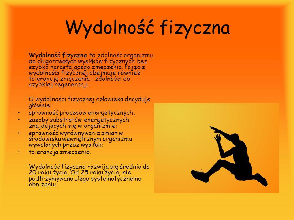 Wydolność fizyczna Wydolność fizyczna to zdolność organizmu do długotrwałych wysiłków fizycznych bez szybko narastającego zmęczenia. Pojęcie wydolnośc