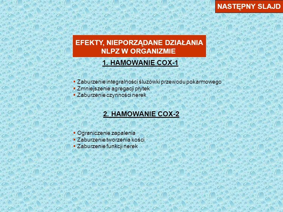NASTĘPNY SLAJD PODZIAŁ KLINICZNY NLPZ 1.Kwas acetylosalicylowy 2.Klasyczne NLPZ (indometacin, ibuprofen, ketoprofen, piroksikam, diklofenak, … ) 3.Preferencyjne – meloksykam, nimesulid 4.Selektywne – celekoksyb, rofekoksyb, … 5.Działające zarówno na cyklooksygenazę, jak i na lipooksygenazę ( alternatywny szlak przemian kwasu arachidonowgo – lek o roboczej nazwie ML 3000