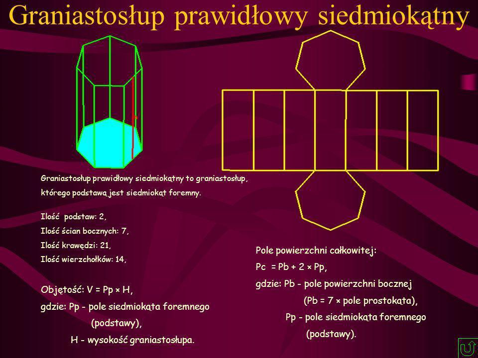 Graniastosłup prawidłowy siedmiokątny Graniastosłup prawidłowy siedmiokątny to graniastosłup, którego podstawą jest siedmiokąt foremny. Ilość podstaw: