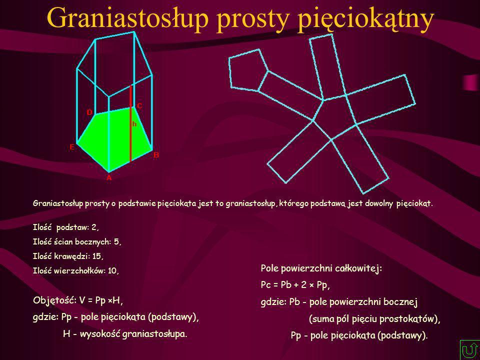 Graniastosłup prosty o podstawie pięciokąta jest to graniastosłup, którego podstawą jest dowolny pięciokąt. Ilość podstaw: 2, Ilość ścian bocznych: 5,