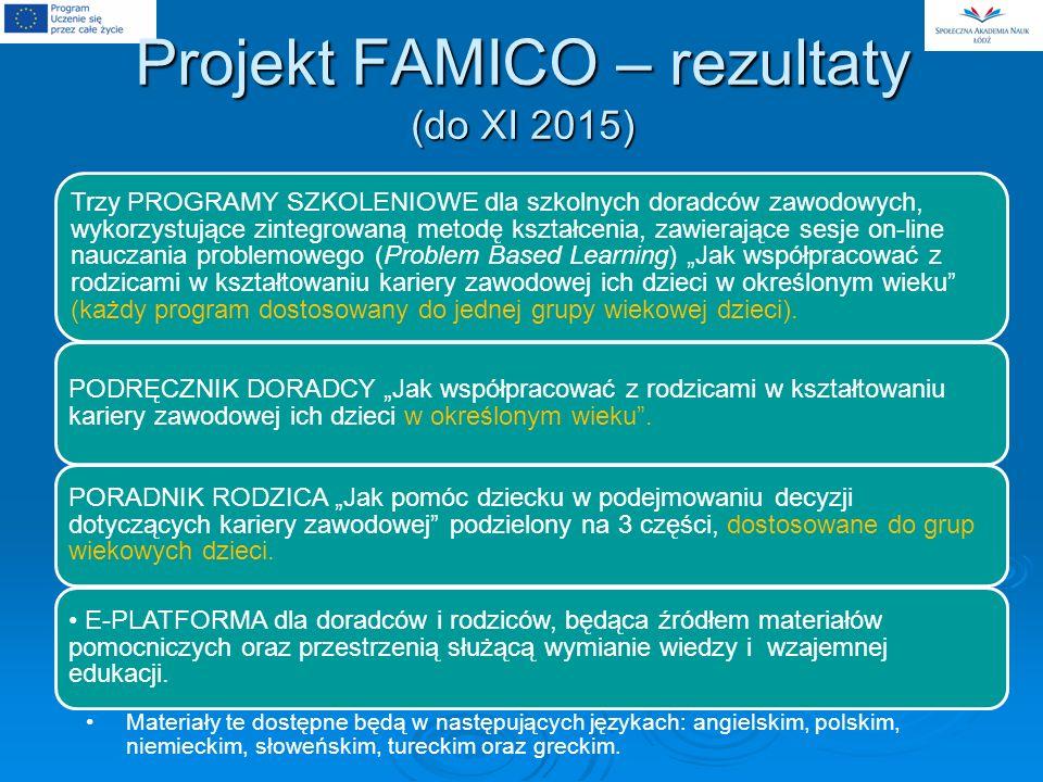 Projekt FAMICO – rezultaty (do XI 2015) Trzy PROGRAMY SZKOLENIOWE dla szkolnych doradców zawodowych, wykorzystujące zintegrowaną metodę kształcenia, zawierające sesje on-line nauczania problemowego (Problem Based Learning) Jak współpracować z rodzicami w kształtowaniu kariery zawodowej ich dzieci w określonym wieku (każdy program dostosowany do jednej grupy wiekowej dzieci).