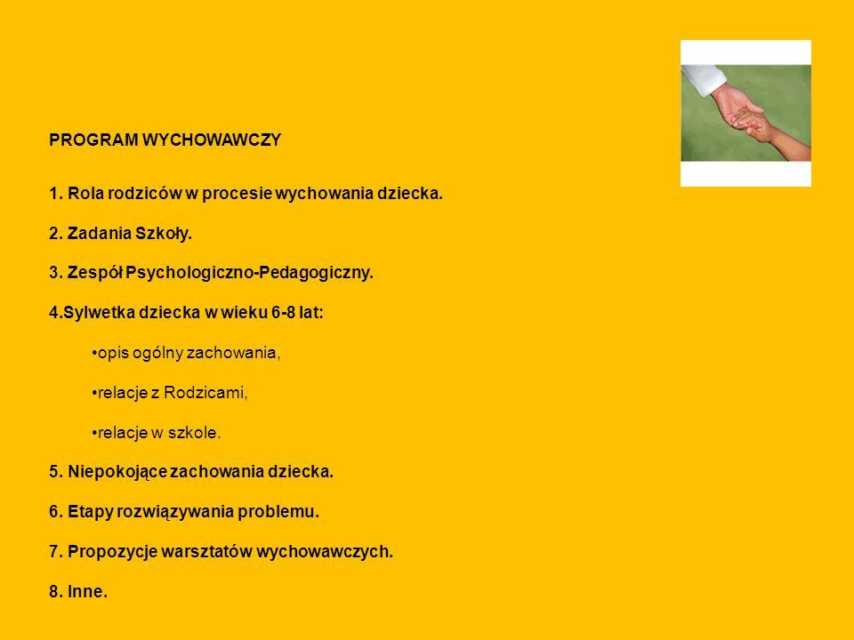 PROGRAM WYCHOWAWCZY 1. Rola rodziców w procesie wychowania dziecka. 2. Zadania Szkoły. 3. Zespół Psychologiczno-Pedagogiczny. 4.Sylwetka dziecka w wie