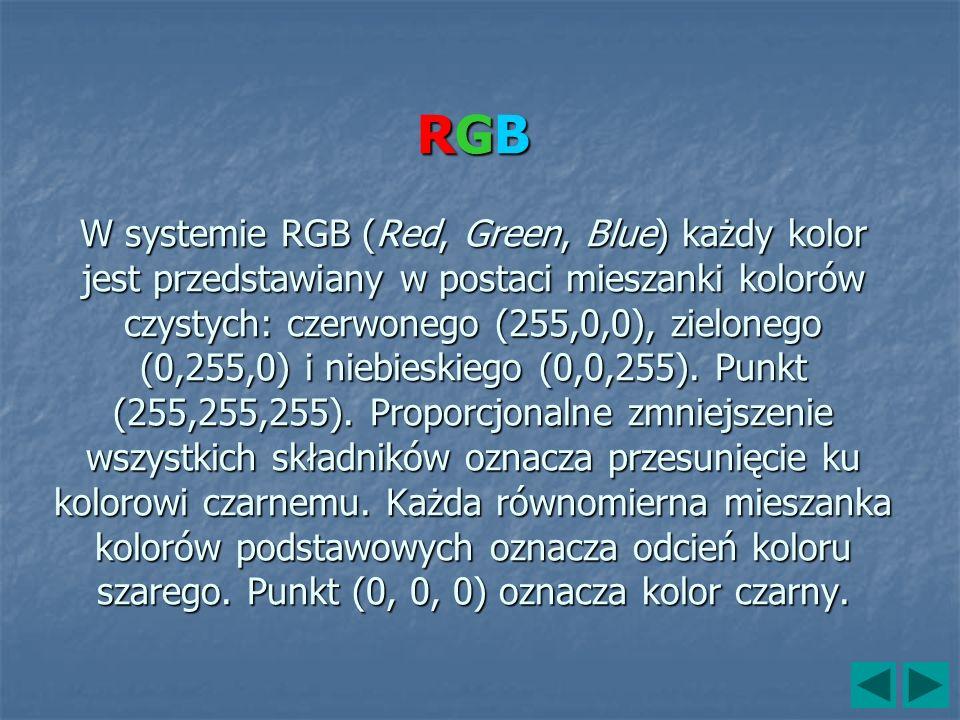 RGB W systemie RGB (Red, Green, Blue) każdy kolor jest przedstawiany w postaci mieszanki kolorów czystych: czerwonego (255,0,0), zielonego (0,255,0) i