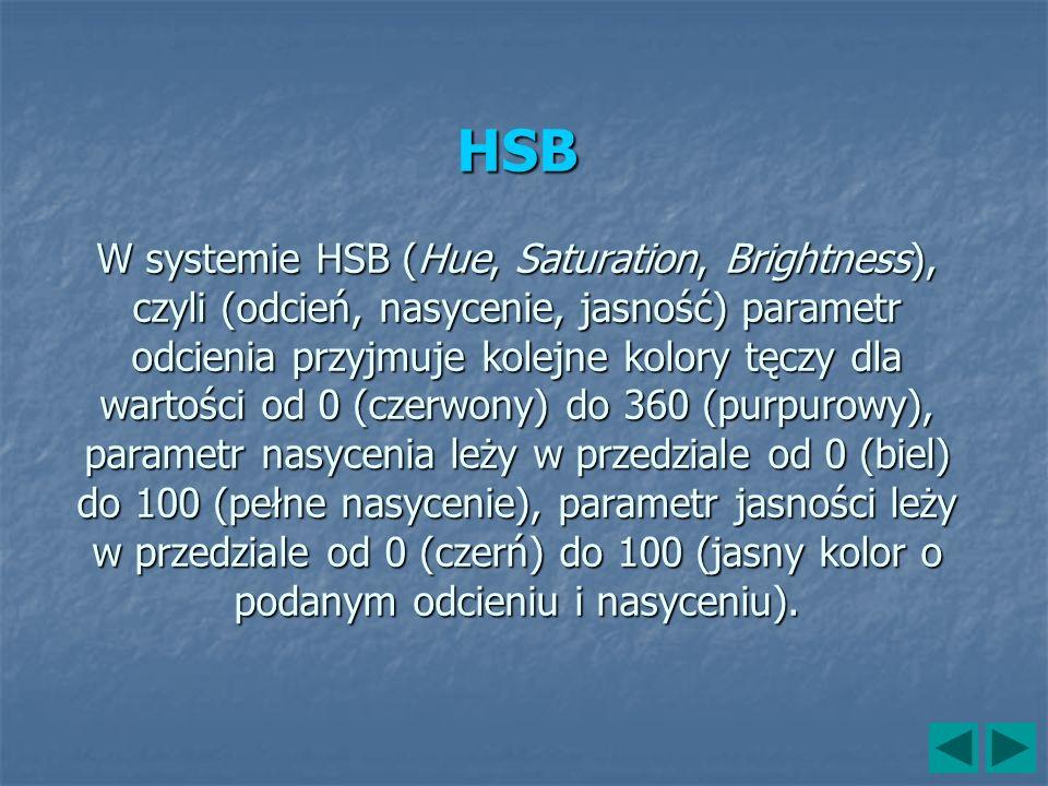 HSB W systemie HSB (Hue, Saturation, Brightness), czyli (odcień, nasycenie, jasność) parametr odcienia przyjmuje kolejne kolory tęczy dla wartości od