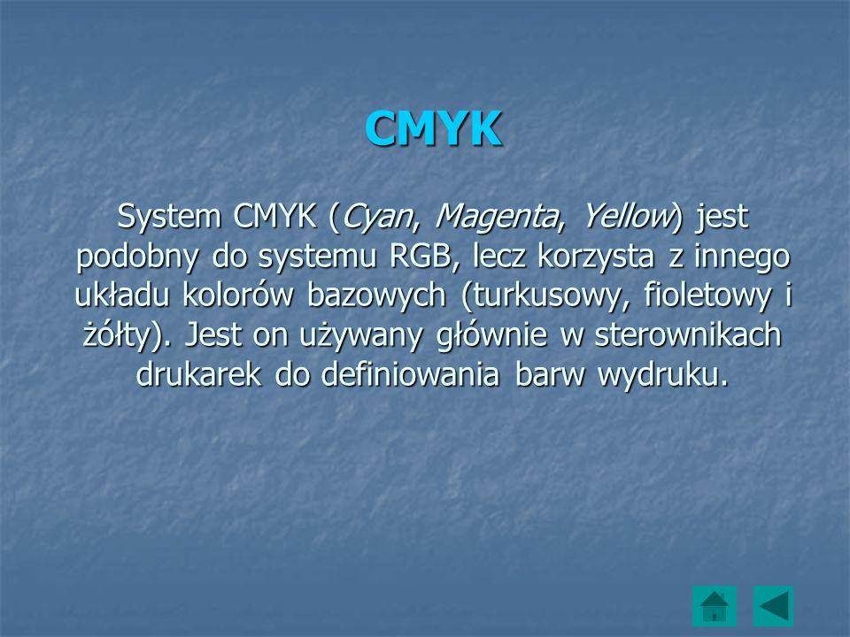 CMYK System CMYK (Cyan, Magenta, Yellow) jest podobny do systemu RGB, lecz korzysta z innego układu kolorów bazowych (turkusowy, fioletowy i żółty). J
