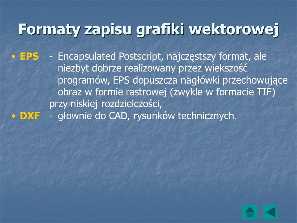 EPS -Encapsulated Postscript, najczęstszy format, ale niezbyt dobrze realizowany przez wiekszość programów, EPS dopuszcza nagłówki przechowujące obraz
