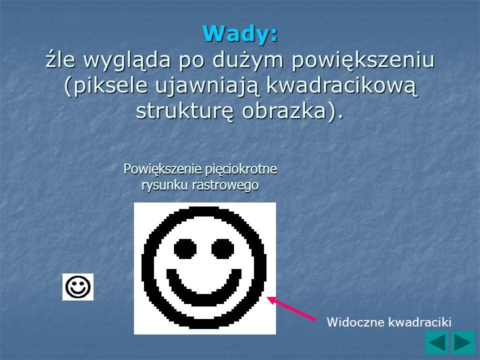 Powiększenie pięciokrotne rysunku rastrowego Widoczne kwadraciki Wady: źle wygląda po dużym powiększeniu (piksele ujawniają kwadracikową strukturę obr