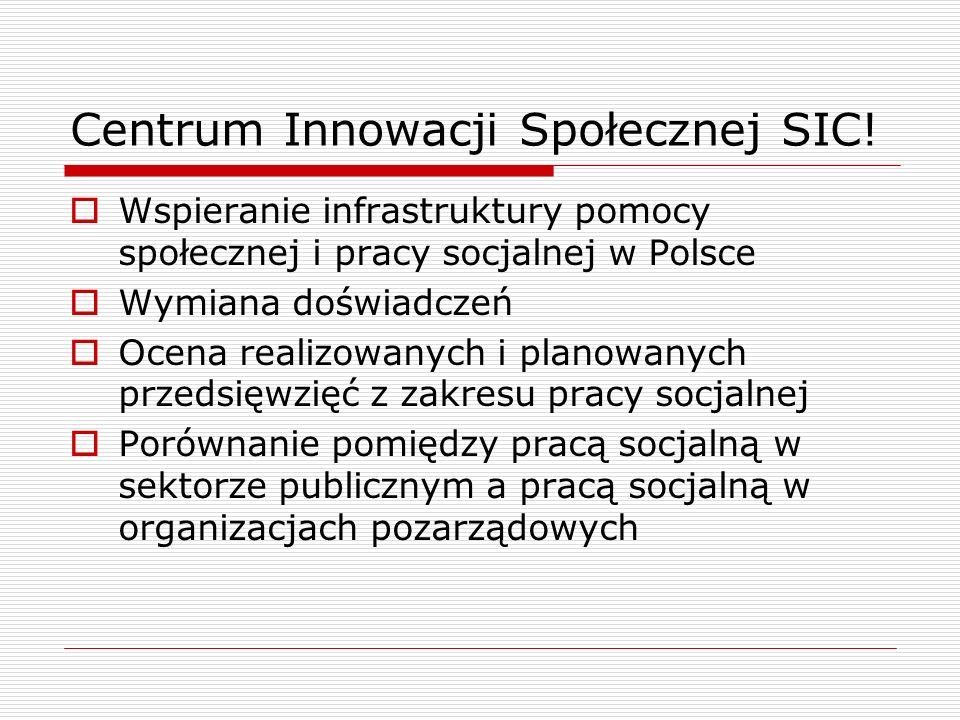 Centrum Innowacji Społecznej SIC! Wspieranie infrastruktury pomocy społecznej i pracy socjalnej w Polsce Wymiana doświadczeń Ocena realizowanych i pla