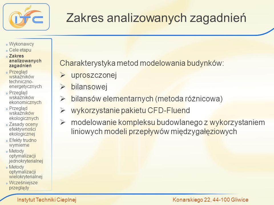 Instytut Techniki Cieplnej Konarskiego 22, 44-100 Gliwice Zakres analizowanych zagadnień Charakterystyka metod modelowania budynków: uproszczonej bila