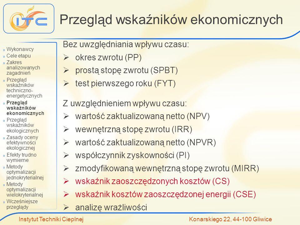 Instytut Techniki Cieplnej Konarskiego 22, 44-100 Gliwice Przegląd wskaźników ekonomicznych Bez uwzględniania wpływu czasu: okres zwrotu (PP) prostą s