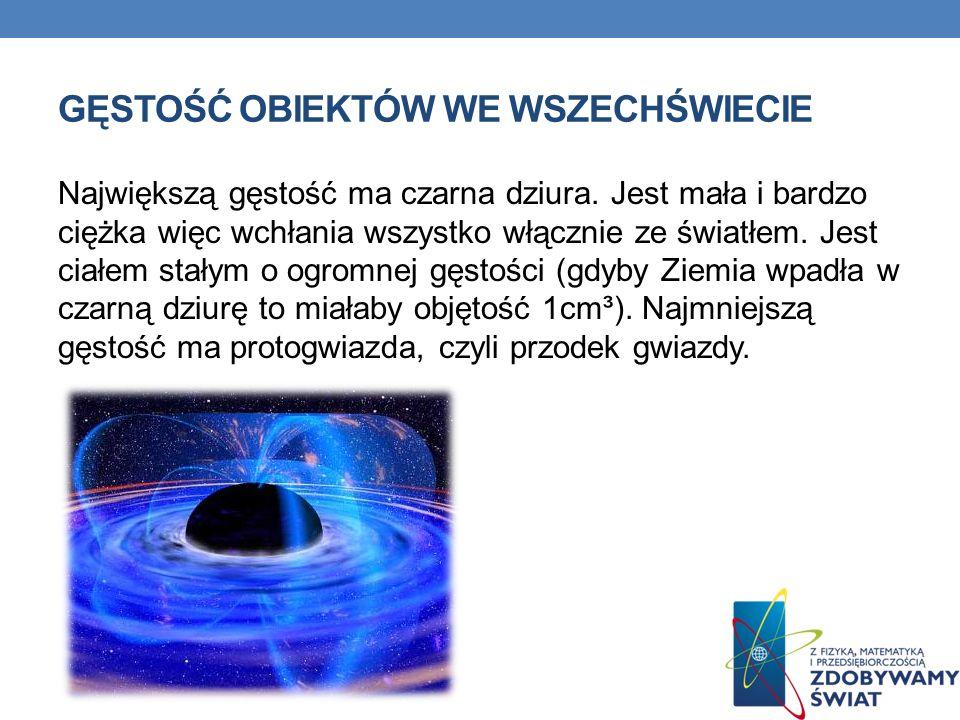 GĘSTOŚĆ OBIEKTÓW WE WSZECHŚWIECIE Największą gęstość ma czarna dziura. Jest mała i bardzo ciężka więc wchłania wszystko włącznie ze światłem. Jest cia