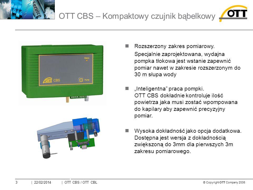 © Copyright OTT Company 2006 | OTT CBS / OTT CBL3| 22/02/2014 Rozszerzony zakres pomiarowy.