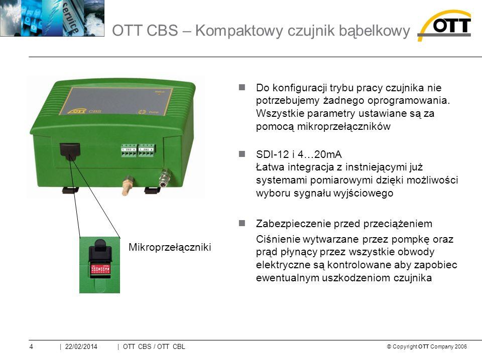 © Copyright OTT Company 2006 | OTT CBS / OTT CBL4| 22/02/2014 Do konfiguracji trybu pracy czujnika nie potrzebujemy żadnego oprogramowania.