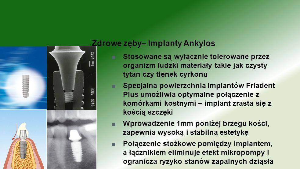 Stosowane są wyłącznie tolerowane przez organizm ludzki materiały takie jak czysty tytan czy tlenek cyrkonu Specjalna powierzchnia implantów Friadent