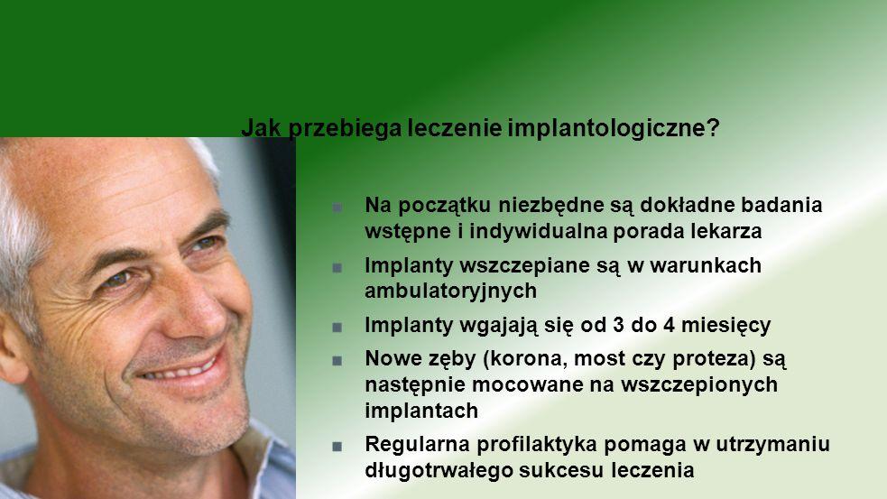 Na początku niezbędne są dokładne badania wstępne i indywidualna porada lekarza Implanty wszczepiane są w warunkach ambulatoryjnych Implanty wgajają s