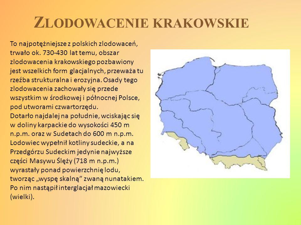 Z LODOWACENIE KRAKOWSKIE To najpotężniejsze z polskich zlodowaceń, trwało ok. 730-430 lat temu, obszar zlodowacenia krakowskiego pozbawiony jest wszel