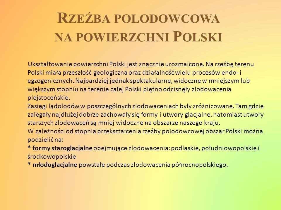 R ZEŹBA POLODOWCOWA NA POWIERZCHNI P OLSKI Ukształtowanie powierzchni Polski jest znacznie urozmaicone. Na rzeźbę terenu Polski miała przeszłość geolo