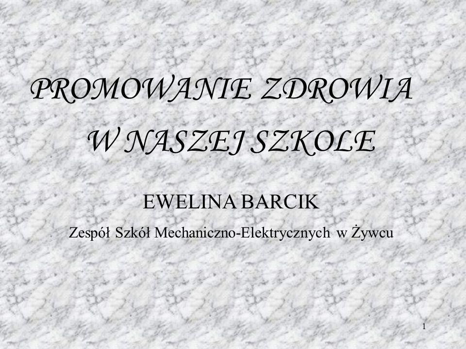 1 PROMOWANIE ZDROWIA W NASZEJ SZKOLE EWELINA BARCIK Zespół Szkół Mechaniczno-Elektrycznych w Żywcu